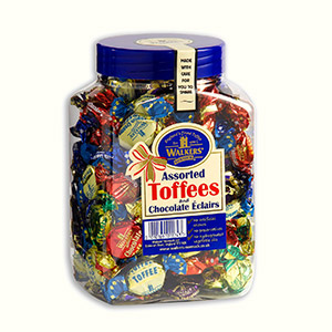Our twist wrapped Assorted Toffees & Chocolate Éclairs in a 1.25kg jar.