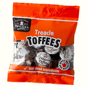 Our twist wrapped Treacle Toffees in a 105g bag.