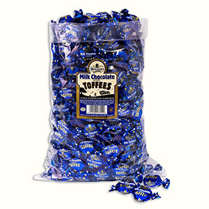 Milk Chocolate Covered Toffees in a 2.5kg bag.