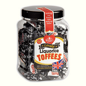 Our twist wrapped Liquorice Toffees in a 450g jar.