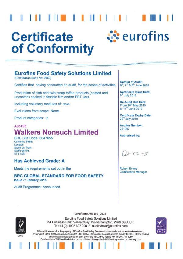BRC Certificate 2018-19